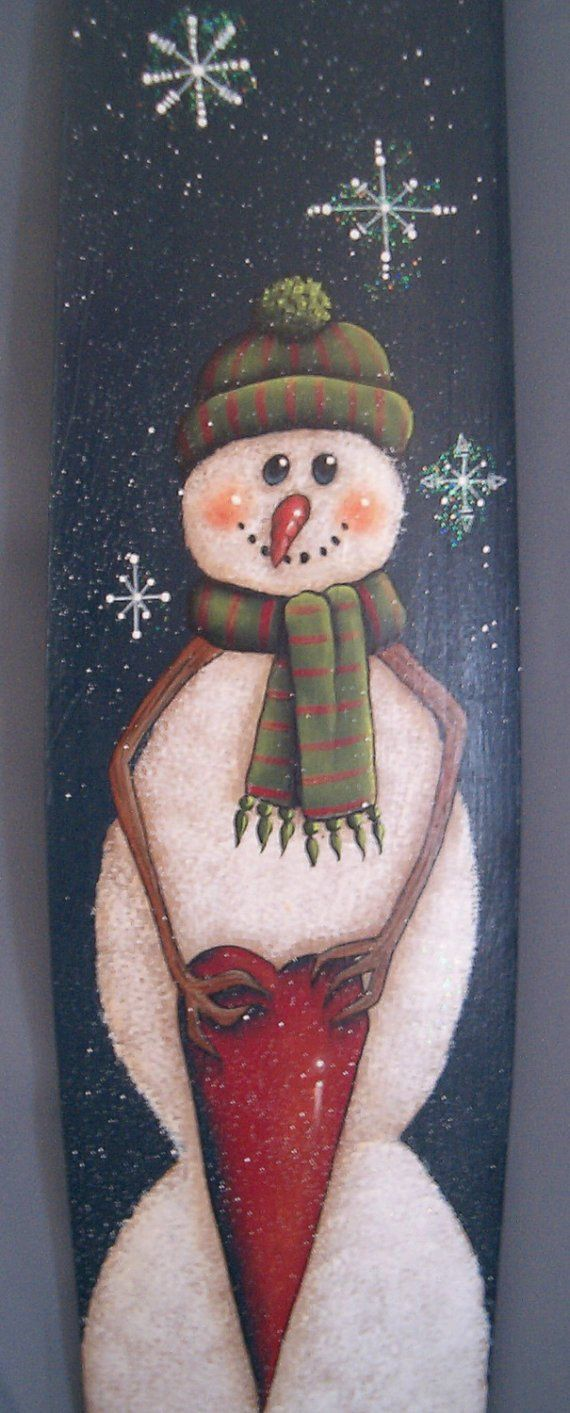 Snowman with Heart Painting Pattern Packet by DawksArt on Etsy, $7.50