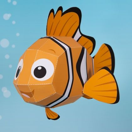 Nemo 3D Papercraft | Kids will enjoy building this curious little clownfish and taking him on undersea adventures.
