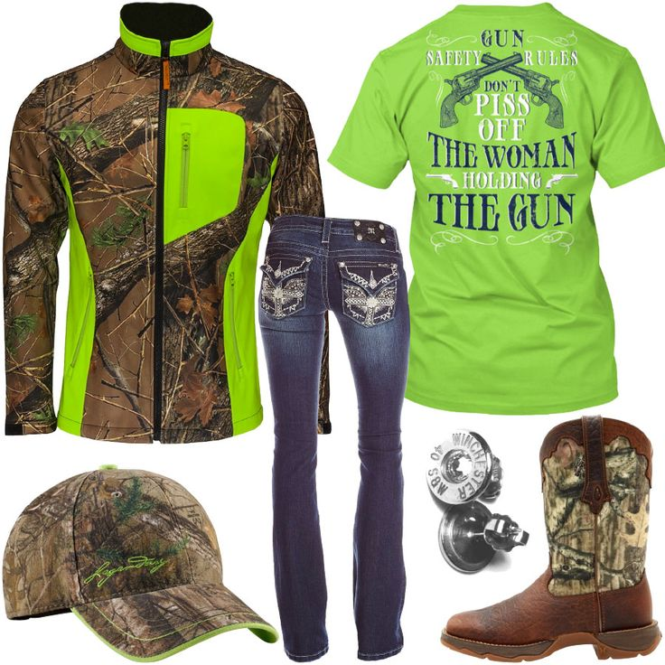 Gun Safety Rules Lime Camo Jacket Outfit - Real Country Ladies