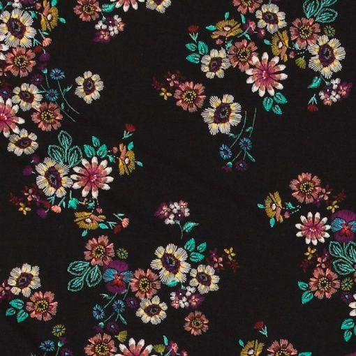 viskose jersey sort med blomster