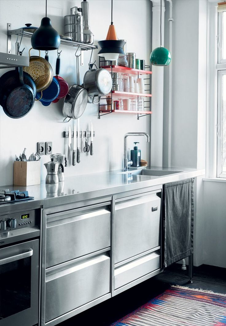 kitchen from claus andersen in stainless steel with open shelving and storage - Kleine Galeere Kche Umgestalten Vor Und Nach