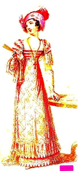1824  February. Evening Dress, English.       Lovely lace hem on a high waisted dress with wide square neckline, long gloves, shawl, and fan.                                        Engraved Plate via Rudolph Ackermann's 'The Repository' of Arts. via Google Books (PD-150)  suzilove.com