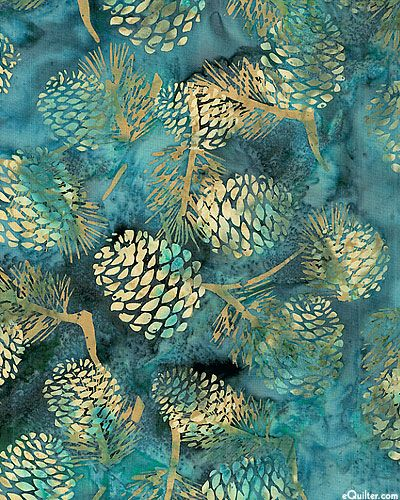 eQuilter - HOBHDBDE - Forest Pine Cone Batik - Dusty Teal from Hoffman Fabrics.