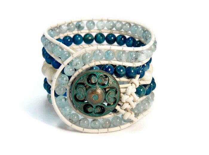 Boho Antarctica * Aqua Marina Apatite Moon Stone 5 Strands, Boho Style, single Cuff Bracelet on Natural White Leather