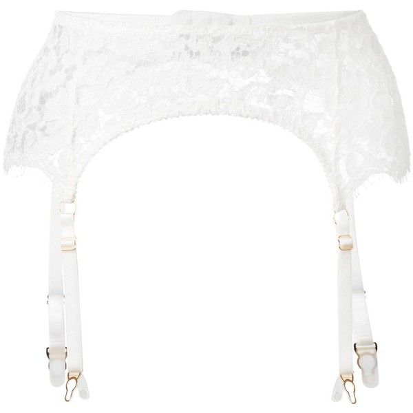 Fréolic 'Grace' garter belt ($146) ❤ liked on Polyvore featuring intimates, lingerie, white, white suspender belt, white garter belt, white lingerie, garter belt and suspender belt