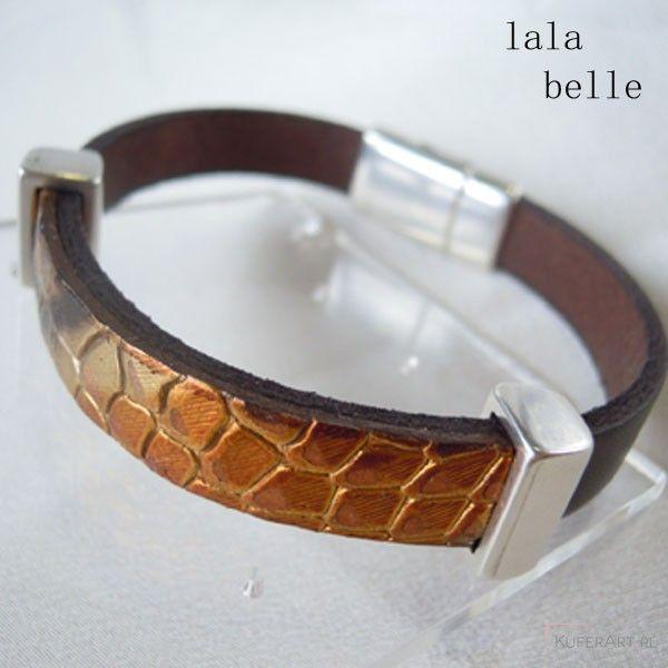 Złoty wąż - brązowa bransoletka ze skóry