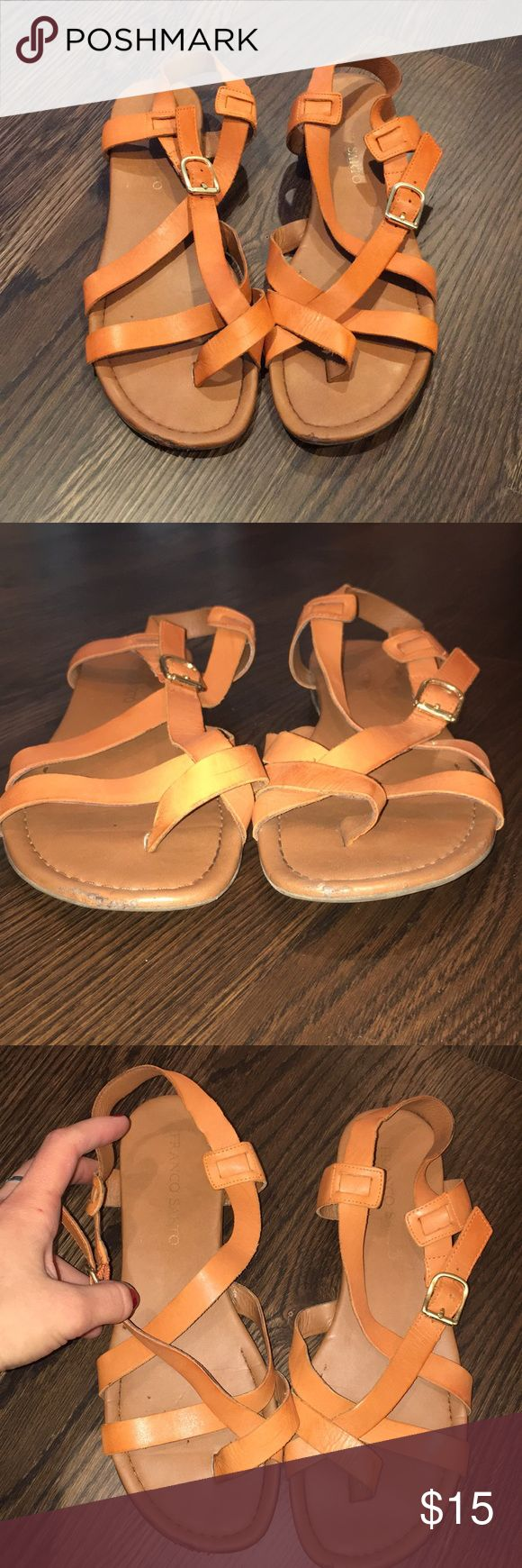 Franco Sarto sandals Super comfy sandals by Franco Sarto. They have an orange look to the straps - more then tan.. These were my go to 2 years ago cause they were so soft and cushioned on the bottom. Great condition still but front tip has more wear that shows. Super cute to a dress or jeans. Franco Sarto Shoes Sandals