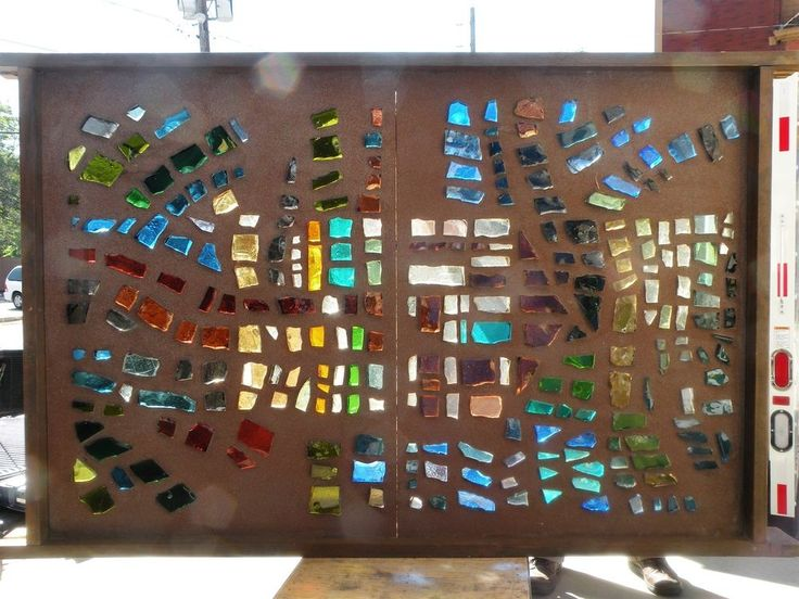 60s BRUTALIST Chunk Rock ART GLASS Concrete 7' PANEL Midcentury Stained Artwork
