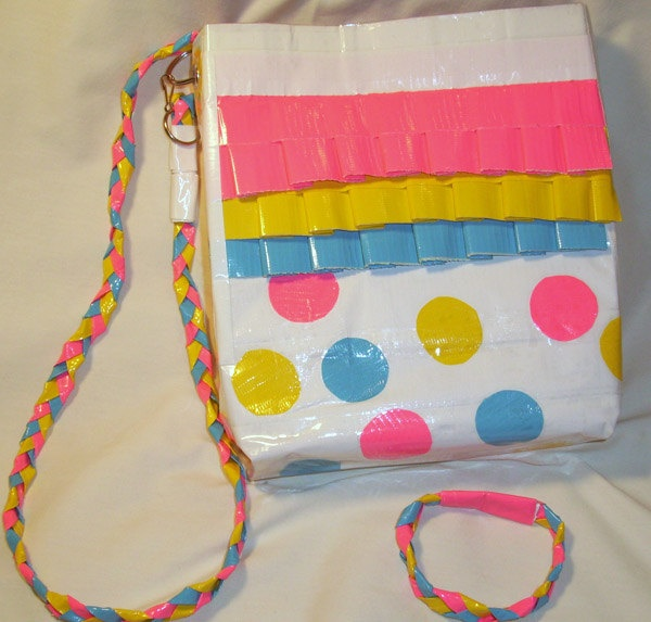 Clown and Circus Themed Duct Tape Purse - Pink, Yellow, Blue