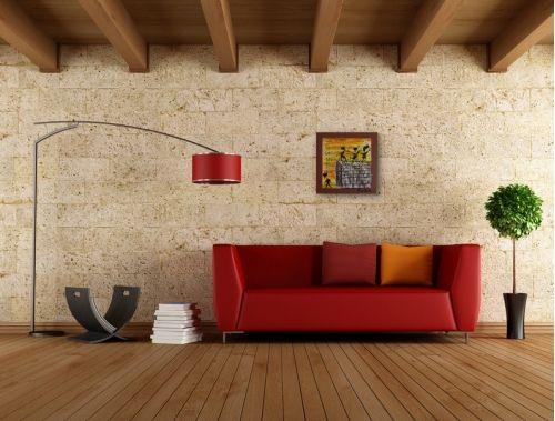 Tanzmalerei Nr. 652 Die Wand (2013) von Manuel Süess im Wohnzimmer über einem roten Sofa | Mehr dazu: http://art-by-manuel.com/de/nr.-652-die-wand-2013/