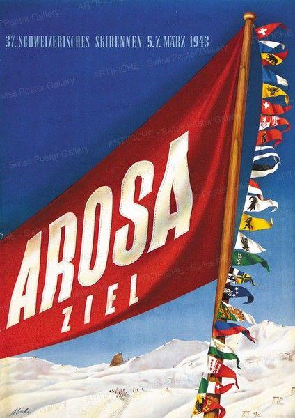 Arosa - 37. Schweizerisches Skirennen 1943 Malischke Otto