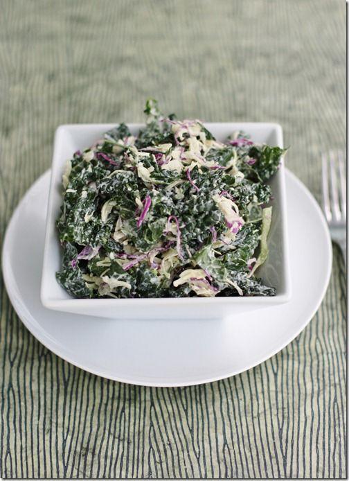 Kale-Slaw: Dinosaur Kale and Cabbage Slaw with Creamy Cashew -Hemp Dressing-added edamame