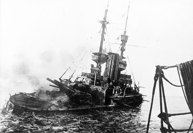 HMS Irresistible sinking in the Dardanelles, 18th march 1915. The allied fleet tried to force their way through the narrows, and many ships like the Irresistible were lost to mines