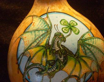 Hand Painted Gourd Pink Baby Fairy Dragon