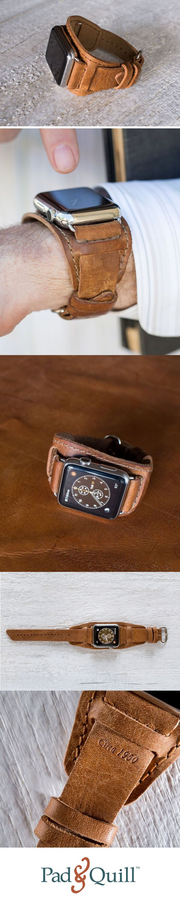 Limited Edition Vintage Leather Apple Watch Band: The 60 Year Lowry Cuff. Made for Apple Watch Series 1 & Series 2 from vintage European leather that is over 60 years old. Very limited edition.
