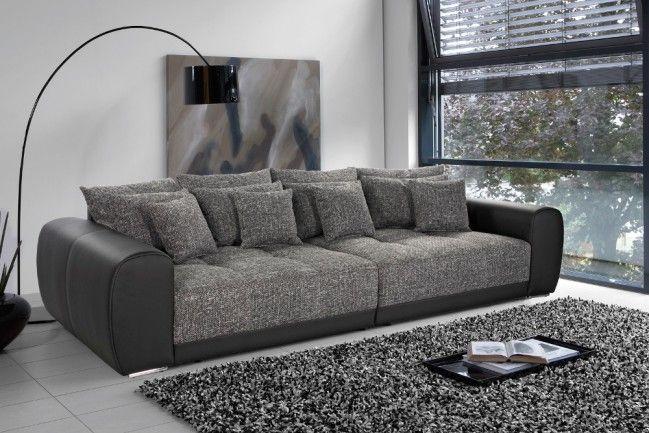 Außergewöhnliches XXL Sofa GIANT LOUNGE Kunstleder Strukturstoff Schwarz Dark Grey  --   Riess-Ambiente.de