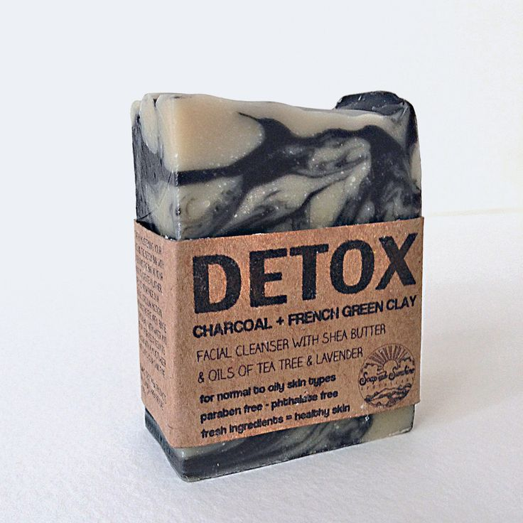 Detox activated charcoal & french green clay facial soap with lavender & tea tree essential oils. Paraben free - Natural handmade soap www.soapandsunshine.com