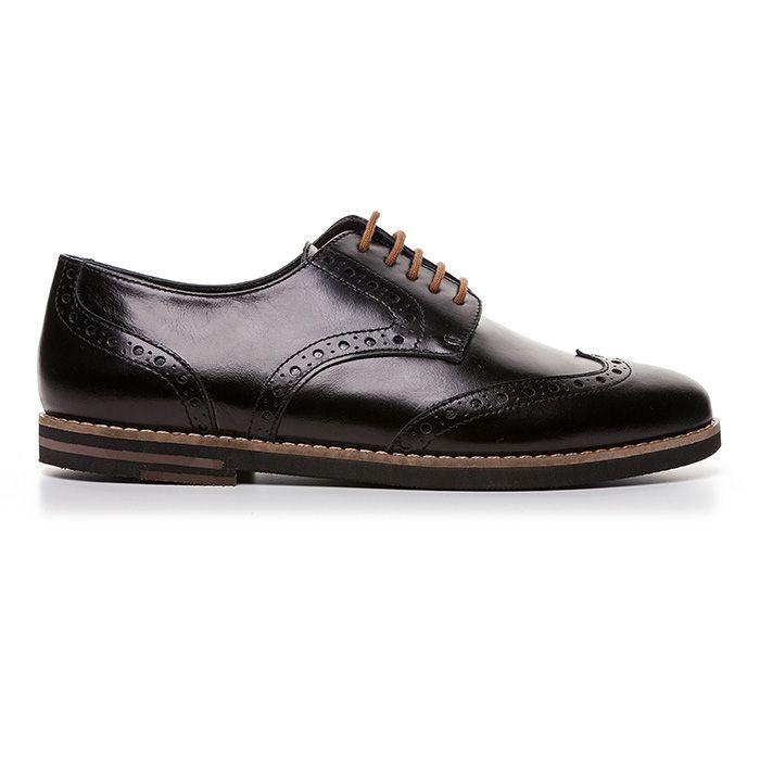 107E01_BLACK LEATHER www.mourtzi.com #oxfords #flats #flat_shoes #brogues #mourtzi