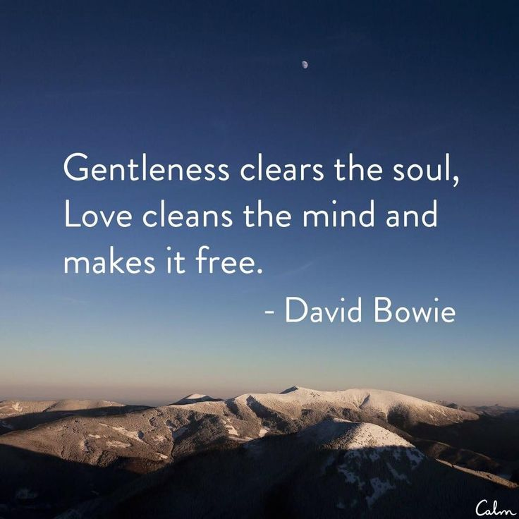 """Gentleness clears the soul, love clears the mind and makes it free"" - David…"