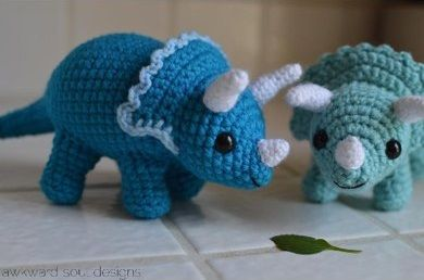 Tremendous Triceratops - our top 9 dinosaur patterns - find them all on the Let's Knit blog!