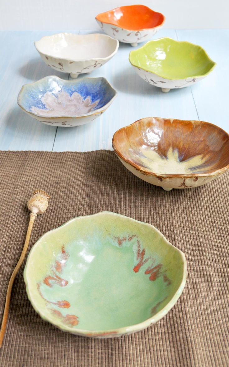 Urban Rustic hand built ceramic bowls new! from Lee Wolfe Pottery