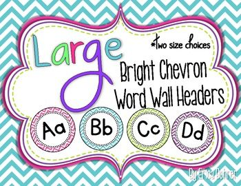 LARGE Bright Chevron Word Wall Headers {Two Size Choices}