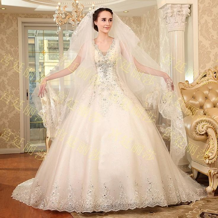 Luxury V Neck Crystals Beading Sequin A Line Cathedral Train Bling Wedding Gowns Prom Dresses 2015 Vintage Lace Wedding Dresses Bridal Gowns A Line Wedding Gowns Affordable Wedding Dresses Online From Xydress, $238.36  Dhgate.Com