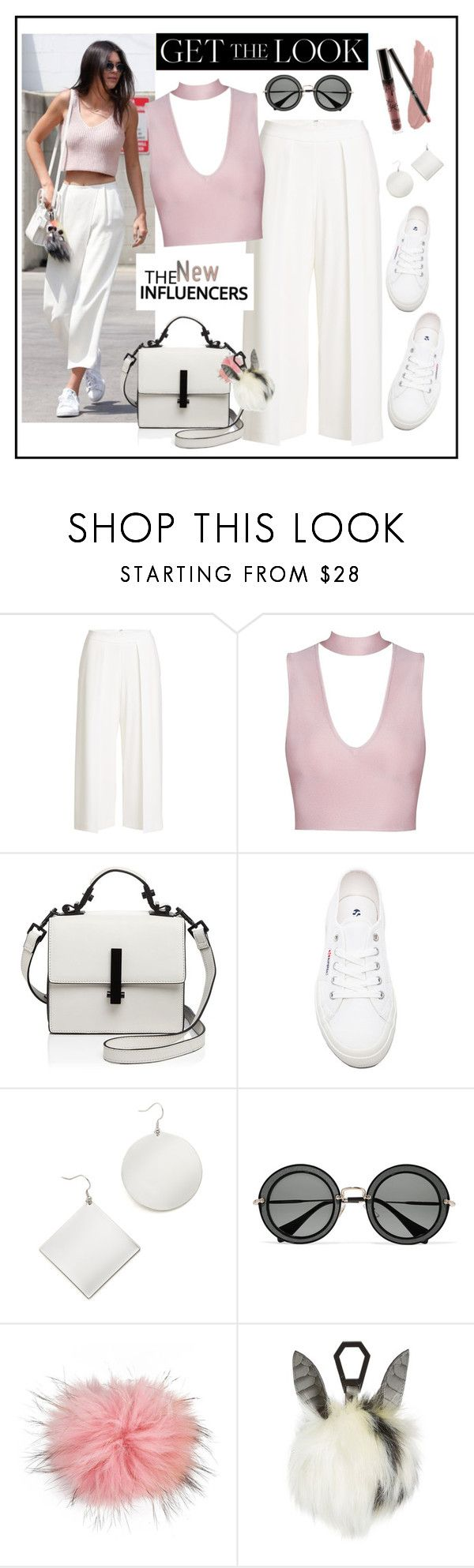 """""""Get The Look!"""" by diane1234 ❤ liked on Polyvore featuring rag & bone, Kendall + Kylie, Superga, Kenneth Jay Lane, Miu Miu, Bobbl, white, Pink, sneakers and influencer"""