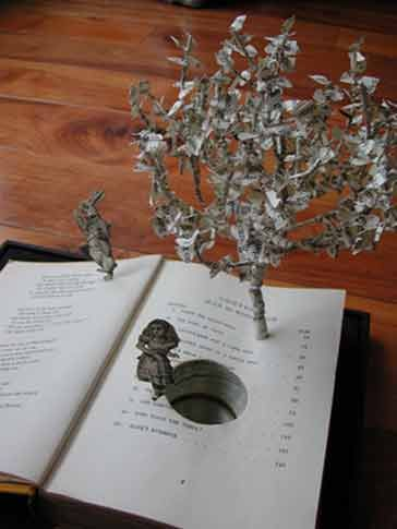 """""""Down the Rabbit Hole"""" book sculpture by Su Blackwell"""