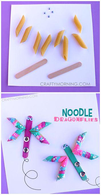 Easy Noodle Dragonfly Spring Craft for Kids to Make!   CraftyMorning.com