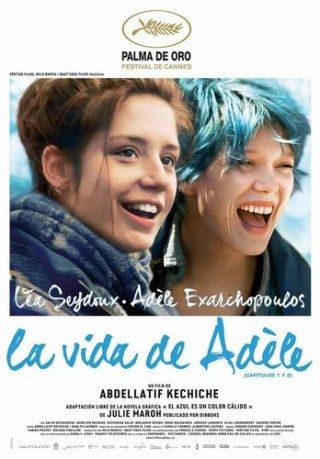 """Blue Is the Warmest Colour (French: La Vie d'Adèle – Chapitres 1 2 – """"The Life of Adèle – Chapters 1 is a 2013 French film written, produced, and directed by Abdellatif Kechiche. Lead actresses: Léa Seydoux and Adèle Exarchopoulos. Beau Film, Inter Video, Michael Haneke, Cinema Posters, Movie Posters, Seydoux, Blue Is The Warmest Colour, Color Blue, Non Plus Ultra"""