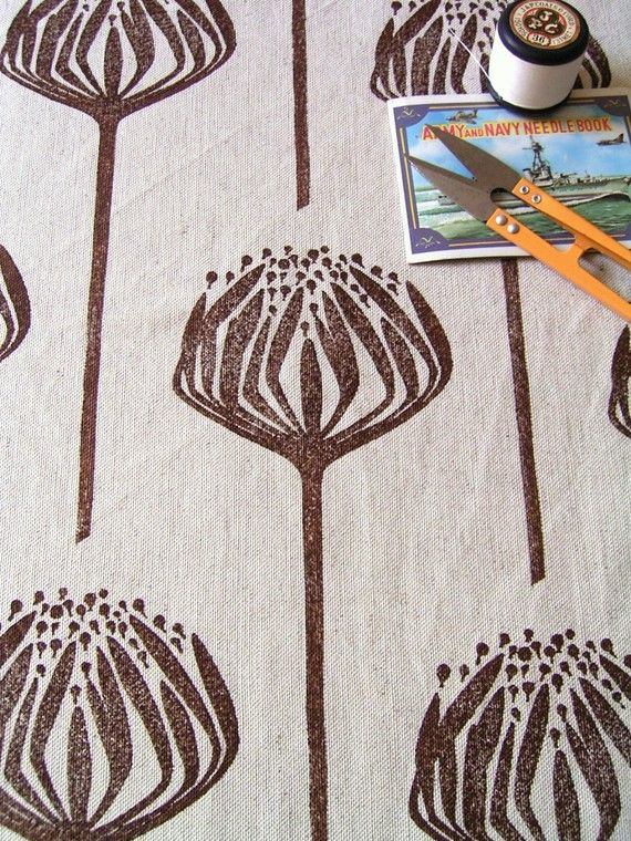 Hand printed fabric - Brown Proteas on linen
