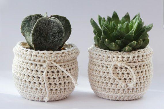 White Knit Plant Pots