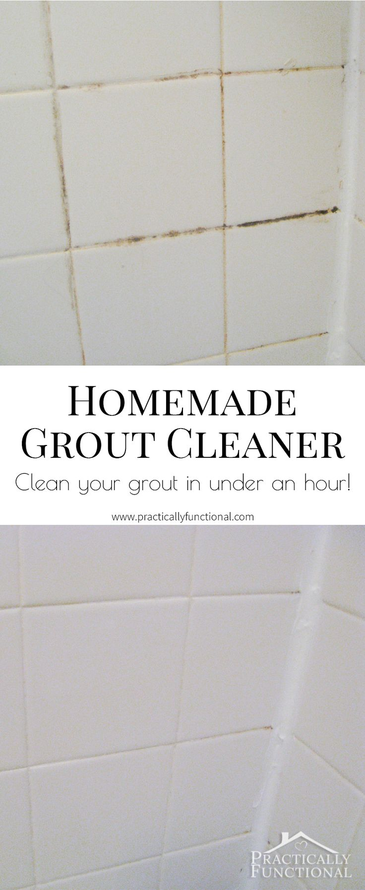 This homemade grout cleaner is such a great way to clean tile grout; all you need is bleach and baking soda!