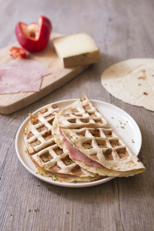 Quesadillas comté, jambon et poivron au gaufrier : photo de la recette
