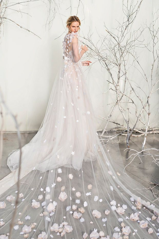 The Elsa Gown and cape from the Mira Zwillinger Whisper of Blossom Collection // see them all at www.onefabday.com