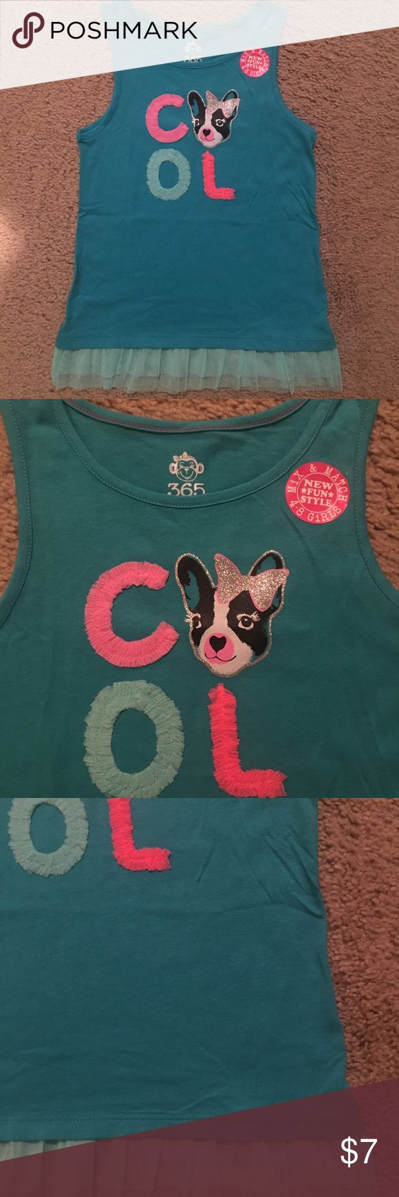 """NWT 365 KIDS FRENCH BULLDOG TANK TOP This adorable top from 365 KIDS is an aqua blue color with light blue tulle ruffled bottom edge. The letters are also of tulle and features a little French bulldog. This is another item in their """"mix & match"""" line & is NWT! 365 KIDS Shirts & Tops Tank Tops"""