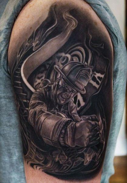 Tattoos Men's Firefighter Smoke