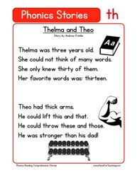 Reading Comprehension Worksheet – Phonics Words Stories – TH