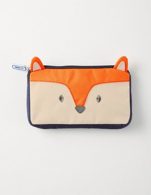Mini Boden Fox Pencil Case in Orange - Mr Fox has a crafty place to keep your school supplies. Made from extra hard-wearing nylon, our case can stand up to even the sharpest pencils. Bring it to school, use it at home, or take it with you on adventures – you never know where inspiration might strike