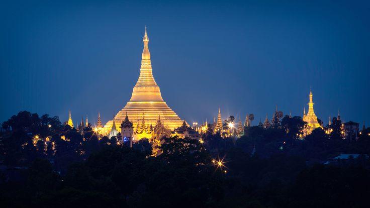 Schwedagon Pagoda by night, Yangon, Myanmar