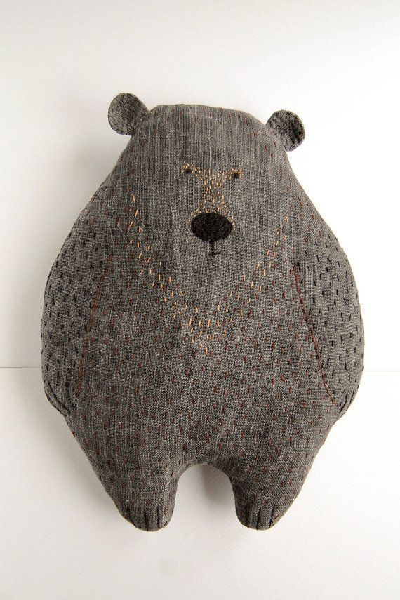 Woodland Plush Bear - Soft animal pillow huggy bear cute softie - Stuffed Animal toy kids gift pillow bear, woodland nursery decor