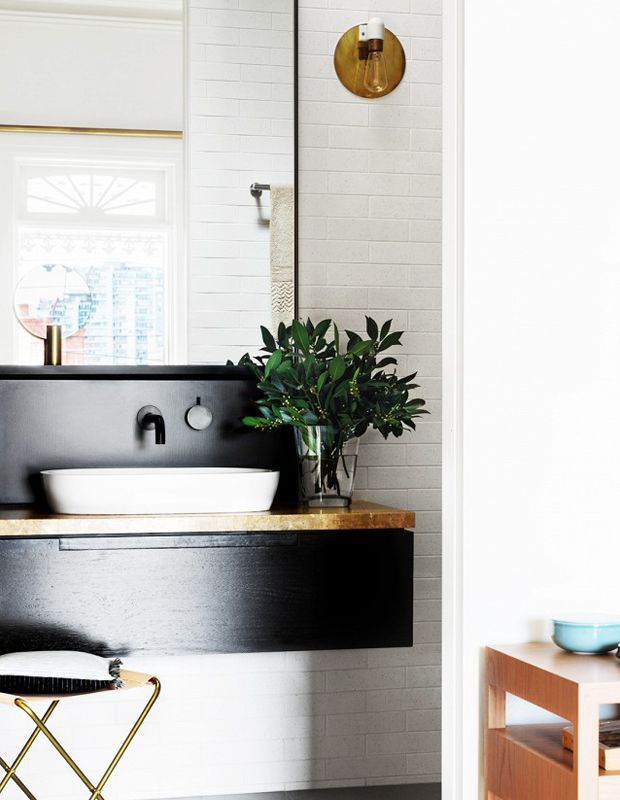 Black and timber vanity