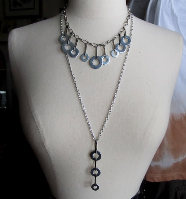 necklace using washers & chain: Diy Crafts, Hardware Store, Diy Jewelry, Washer Necklace, Things, Wobisobi, Necklace, Jewelry Diy