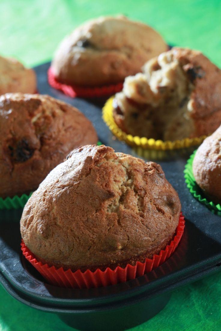 Μικρά κέικ (muffins) με μπανάνα και καρύδι