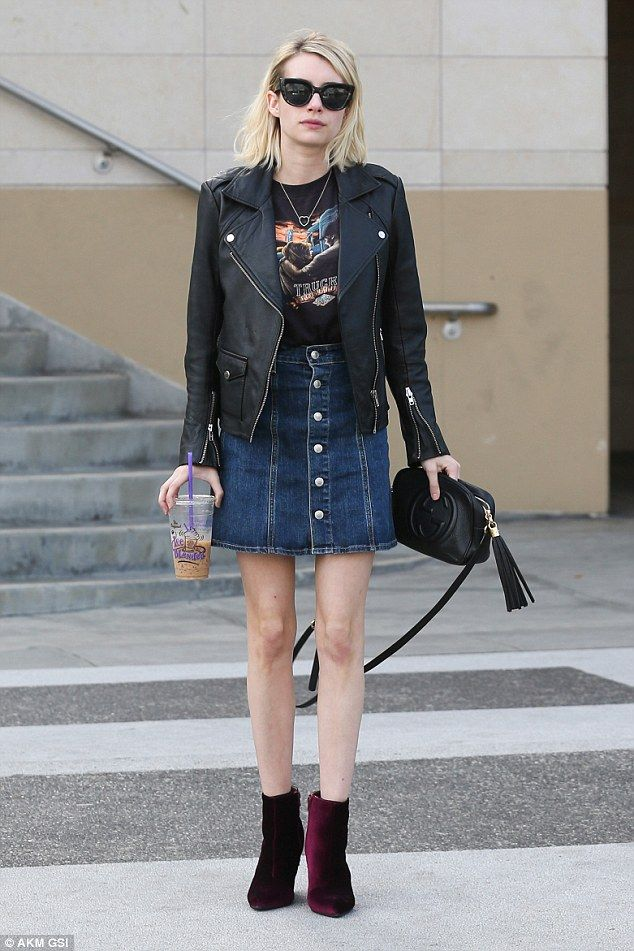 Ensemble: The Scream Queens star completed the look with a denim skirt...