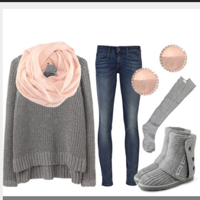 Pink and gray warm outfit