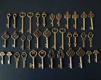 Sleutels tot geluk 150 antieke bronzen skelet door thejourneysend
