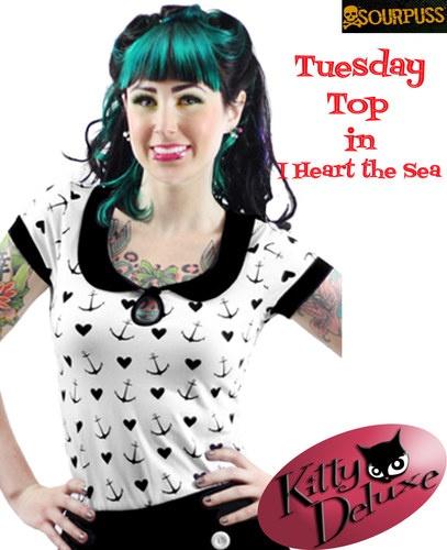 Sourpuss Tuesday I Heart the Sea Ladies Top Sizes L, XL & XXL