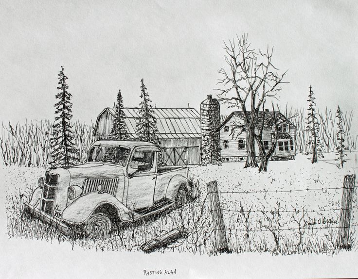 Rusting Away, Pen, Ink, Original, $75. The old farm truck is rusting away. A treasure for someone who does restorations. 8 x 10